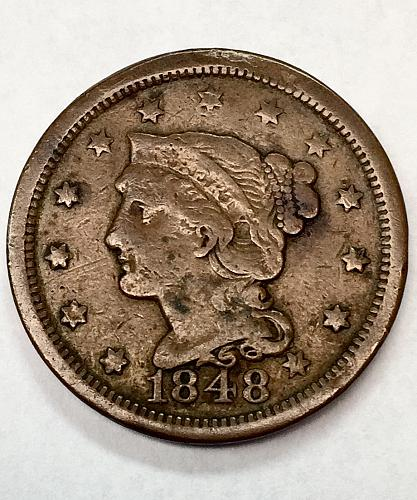 1848 Braided Hair Liberty Head Large Cent