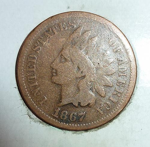VG 1867 Indian Cent Grades VERY GOOD ( K7618 )
