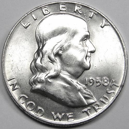 1958 D Franklin Half Dollar #4 WHITE