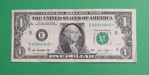 2013 $1 US Banknote - Federal Reserve Note - * * STAR NOTE * *  - - Low Serial N