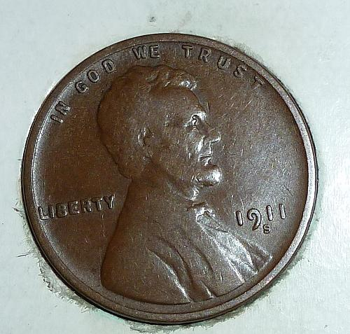 Here is a 1911 S Fine Lincoln Wheat Cent  (1625)