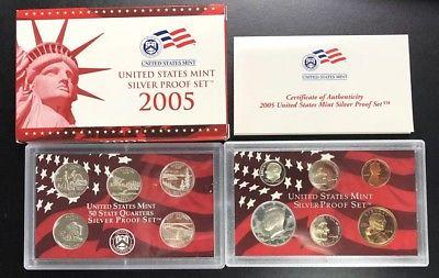 (2) 2005 Silver Proof Mint, 11 piece sets