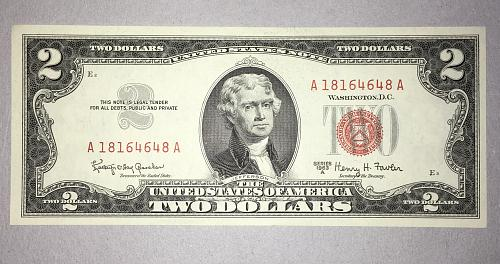 """CRISP & WHITE BU/GEM 1963-A $2.00 US """"RED SEAL"""" NOTE - AMAZING CONDITION!"""