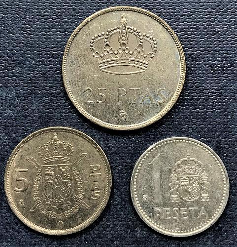 Spain 1984 = 25, 5 and 1 Pesetas