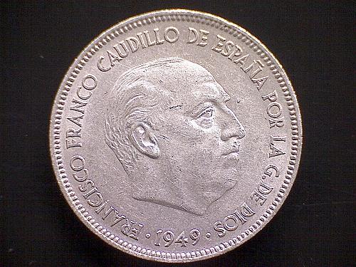 1949 (49) SPAIN FIVE PESETAS