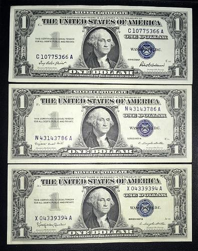 HIGH GRADE CH-AU 1957 FV$3.00 LOT (57/57A/57B Ser.) $1.00 SILVER CERTIFICATES -