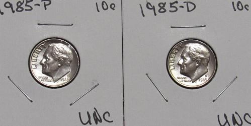 1985 P&D Roosevelt Dimes in BU