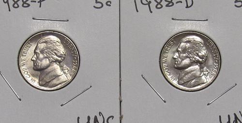 1988 P&D Jefferson Nickels in BU