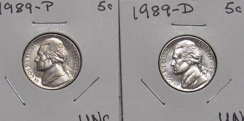1989 P&D Jefferson Nickels in BU