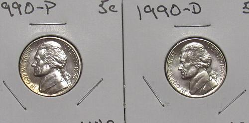 1990 P&D Jefferson Nickels in BU
