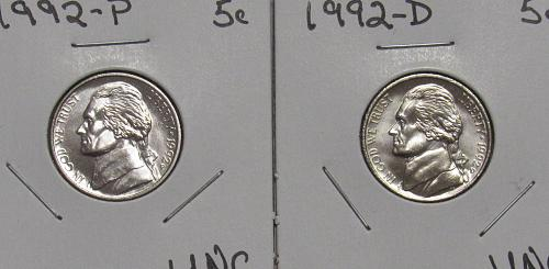 1992 P&D Jefferson Nickels in BU