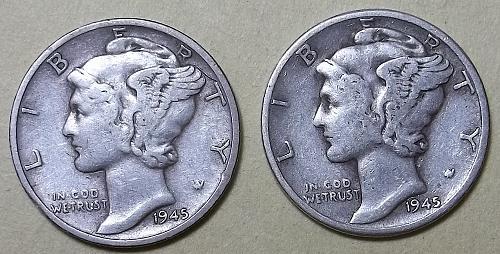 2 Mercury Dimes Lot McDR9