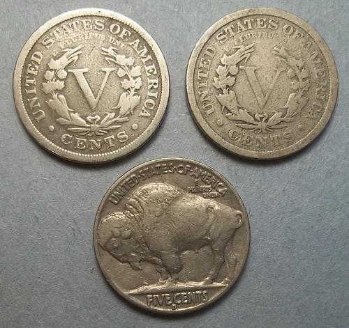2 Liberty V and 1 Buffalo Nickels Lot LBN2bc