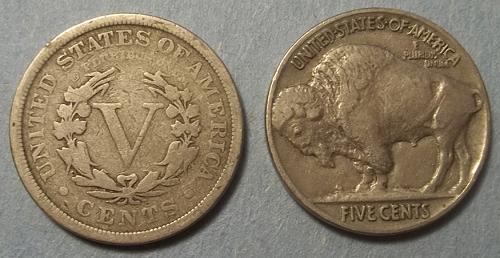 1 Liberty V and 1 Buffalo Nickels Lot LBNQc