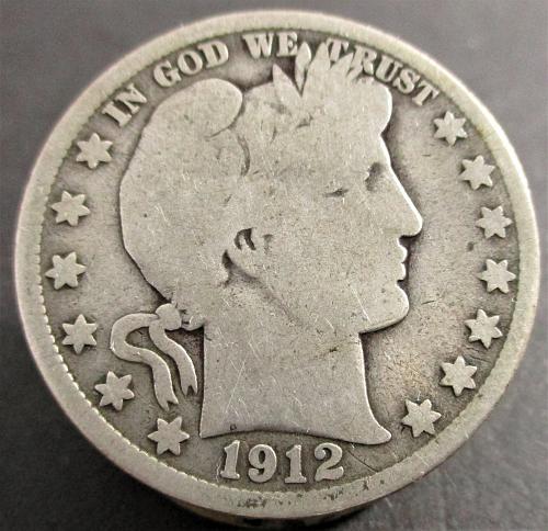 1912-S  BARBER HALF DOLLAR     N E W   P R I C E     1/6/2020