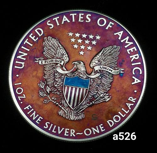 2015 Rainbow Monster Toned Silver American Eagle 1 troy ounce silver coin #a526