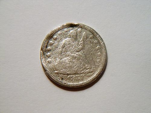 1857-O Silver Seated Liberty Quarter