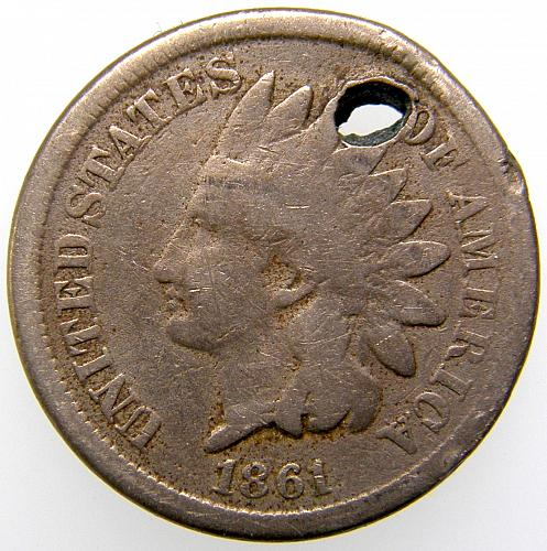 1861 P Indian Head Cent #13 HOLED