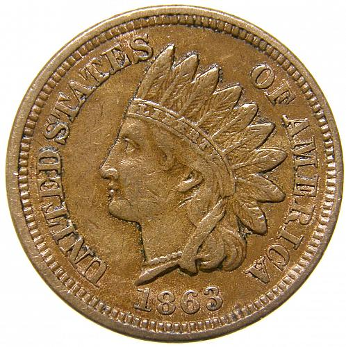 1863 Indian Head Cent #29  BV=$80