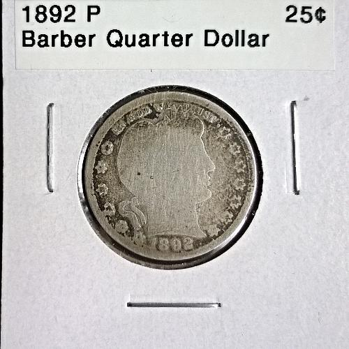 1892 P Barber Quarter Dollar - 6 Photos!