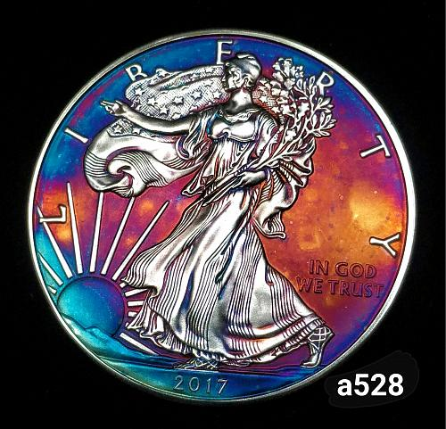 2017 Rainbow Toned Silver American Eagle 1 troy ounce silver Monster toned #a528