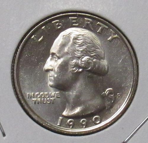 1990 P Washington Quarter in BU