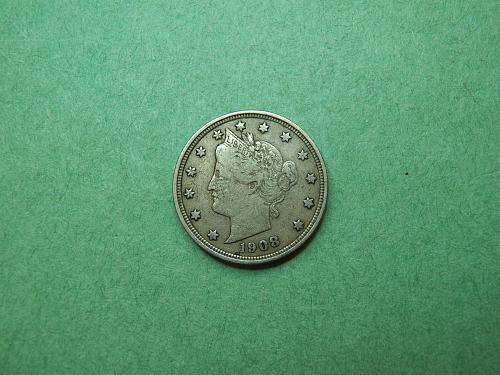 1908 Liberty V Nickel Very Fine Coin   R67