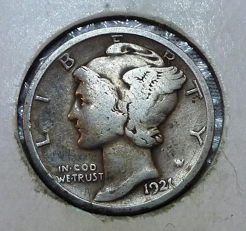 1921-P Fine Mercury Dime F Graded (11918-A)