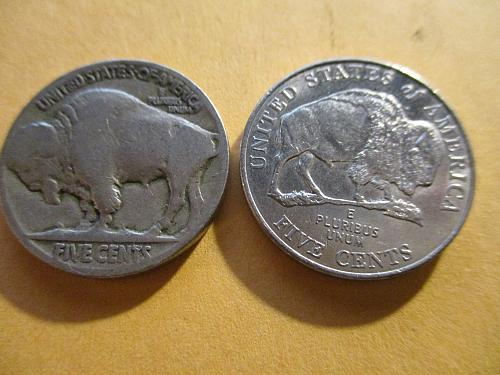 Two Nickels one is a NO Date Buffalo and the other is a modern BISON Nickel