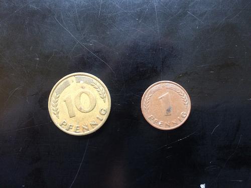 1949 1 PFENNIG AND 1950 10 PFENNIG GERMAN COINS