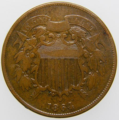 1864 P Two Cents: Large Motto #2 VG10