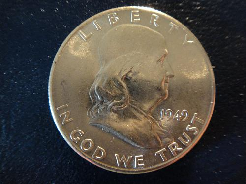 1949-S Franklin Half Dollar Almost Uncirculated-58 Nice LUSTER!