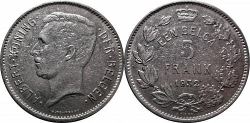 Belgium 1932  1 Belga / 5 Francs   Dutch Text      0271