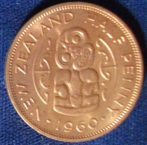 1960 New Zealand 1/2 Penny UNC