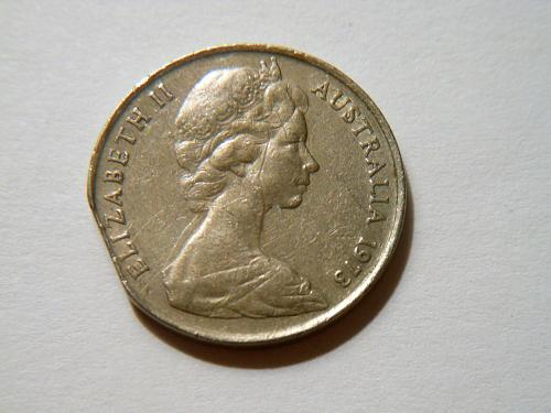 1973 Australia Elizabeth II 10 Cents Coin with a Straight Clip Planchet Error
