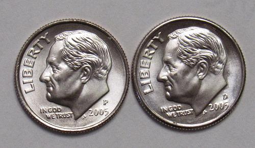 2005 P&D Roosevelt Dimes in BU
