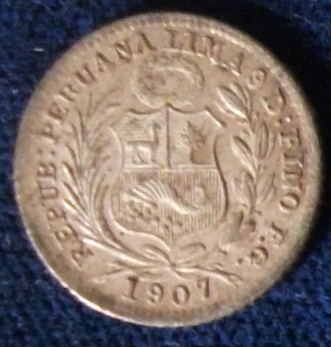 1907FG Peru 1/2 Dinero UNC