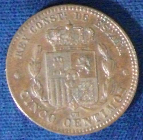 1877OM Spain 5 Centimos AU