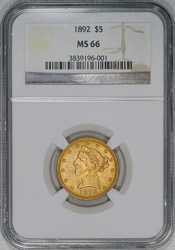 1892 NGC MS66 $5 gold half eagle *SCARCE* A TRUE SUPERB BU GEM