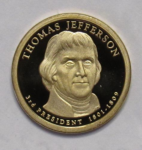 2007 S Proof Presidential Dollar: Thomas Jefferson