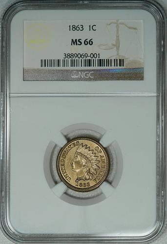 1863 NGC MS66 Indian cent, nice attractive original looking piece, scarce in 66