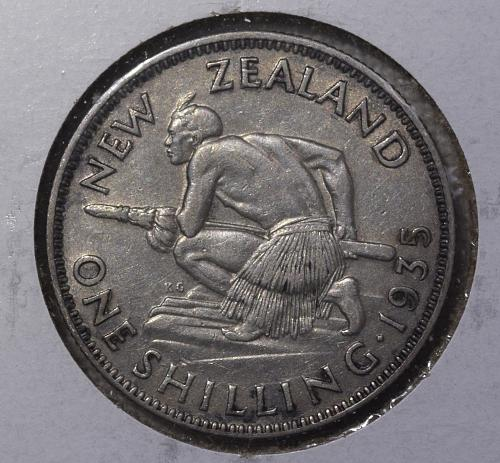 1935 New Zealand Silver One Shilling