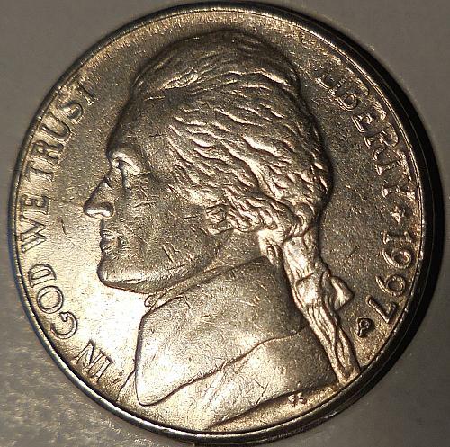 1997-P Jefferson Nickel Spike Head Die Crack Error