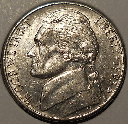 1993-D Jefferson Nickel Spike Head Die Crack Error