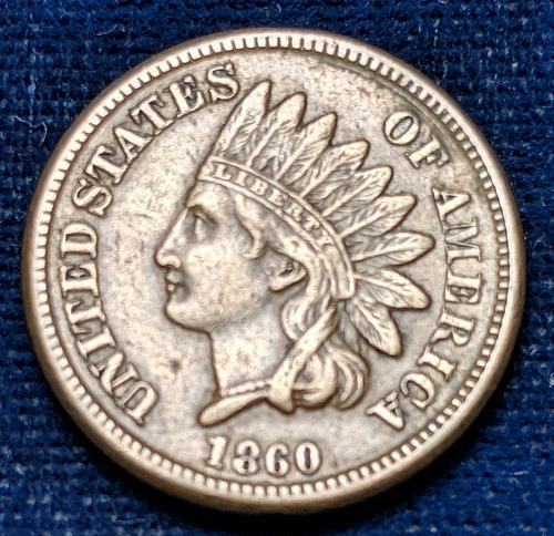 1860 XF ROUNDED BUST INDIAN HEAD CENT.