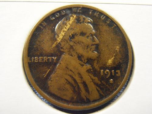 1913 S Lincoln Cent VF+ Struck on a streaky planchet (13ST3)