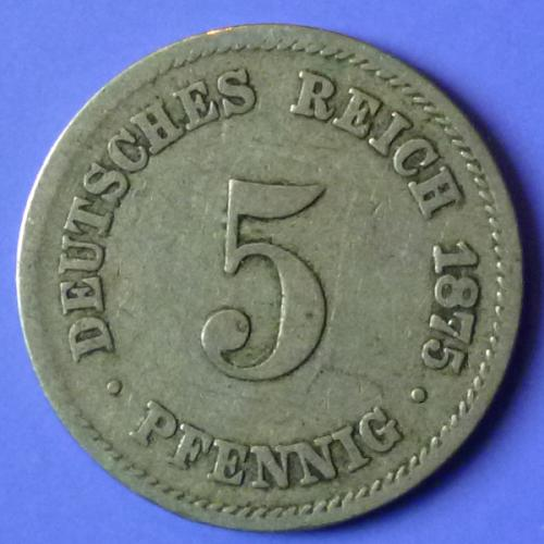 Germany Empire 5 Pfennig 1875 A km 3