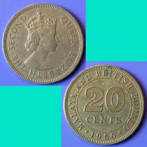 Malaya and British Borneo 20 Cents 1956 km 3