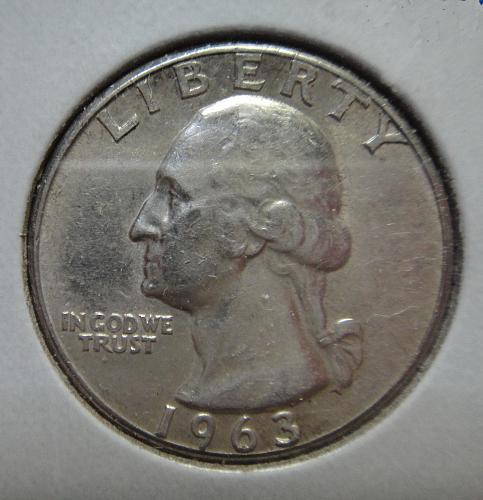 1963 TYPE B Washington Quarter Almost Uncirculated-50