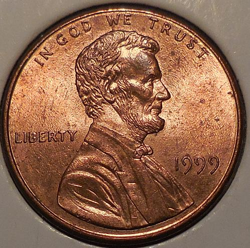 1999-P Lincoln Cent with Lamination Error